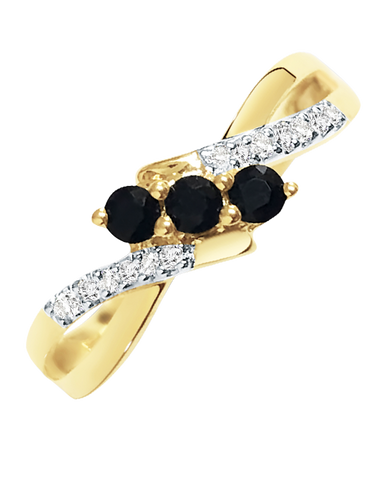 Sapphire Ring - 9ct Yellow Gold Sapphire and Diamond Ring - 769140