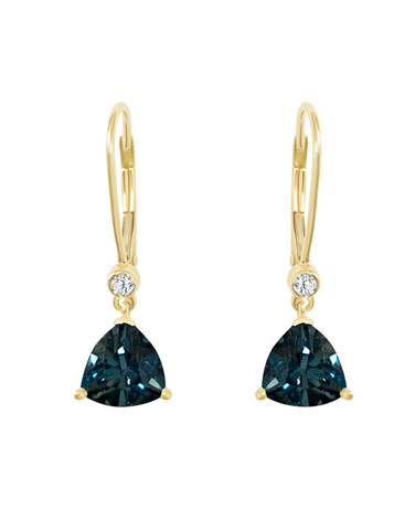 Blue Topaz Earrings - Yellow Gold London Blue Topaz Earrings - 769141