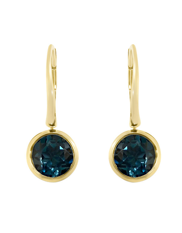 Blue Topaz Earrings - Yellow Gold London Blue Topaz Earrings - 769143