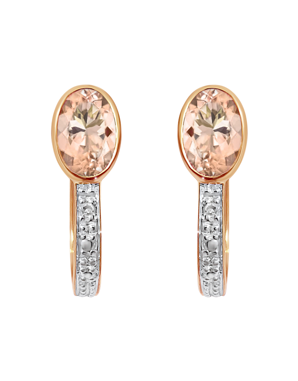Morganite Earrings - 9ct Rose Gold Morganite and Diamond Earrings - 769146 - Salera's