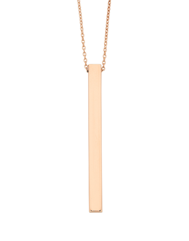 Gold Necklace - Rose Gold Bar Necklet - 769208