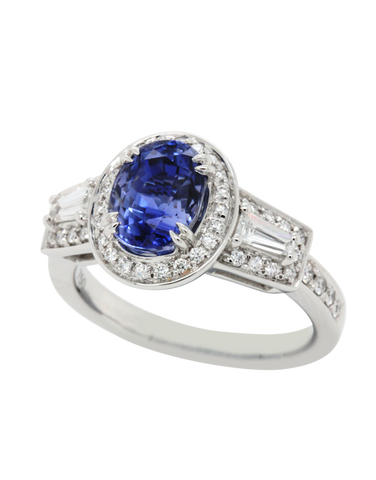 Esclusivo - 18ct White Gold Ceylon Sapphire & Diamond Ring - 769251