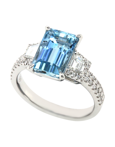 Esclusivo - 18ct White Gold Aquamarine and Diamond Ring - 769252