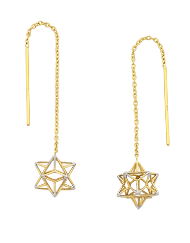 Gold Earrings - Yellow Gold Star Thread Through Earrings - 769419