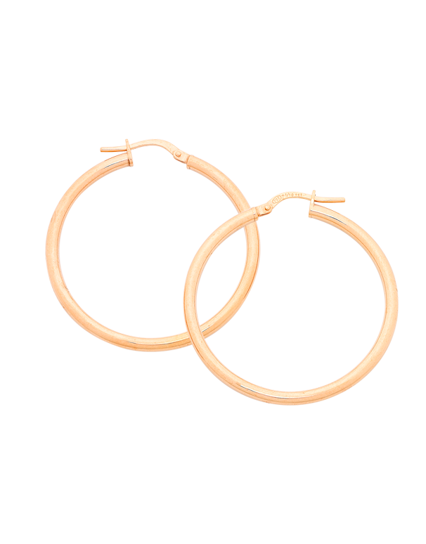 Gold Earrings - 9ct Rose Gold Hoop Earrings - 769426