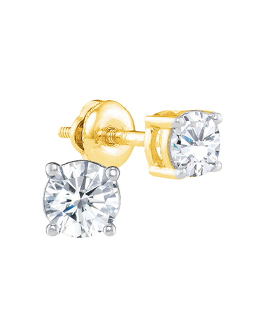 Diamond Studs - 14ct Yellow & White Gold Diamond Stud Earrings With Screw Backs - 770180