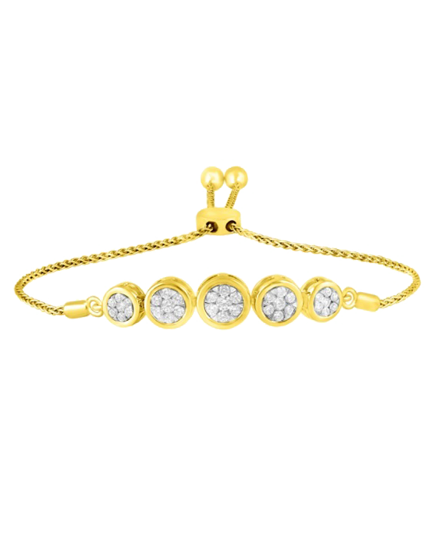 Bolo Bracelet - 10ct Yellow Gold Diamond Bracelet - 770315 - Salera's