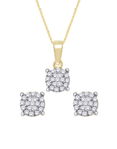 Diamond - Matching Diamond Pendant & Earrings Set - 770327