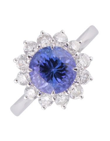 Tanzanite Ring - 18ct White Gold Tanzanite & Diamond Ring - 770361