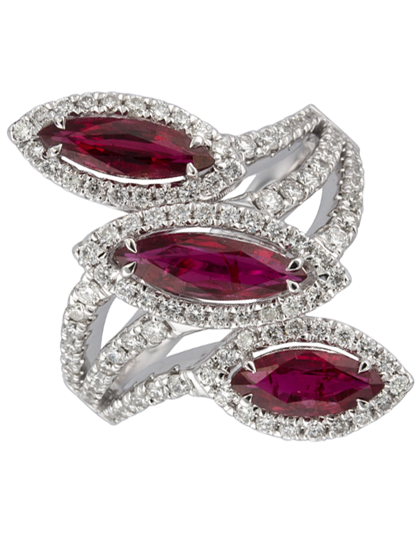 Ruby Ring - 18ct White Gold Ruby & Diamond Ring - 770364 - Salera's