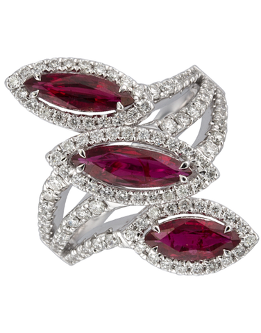 Ruby Ring - 18ct White Gold Ruby & Diamond Ring - 770364