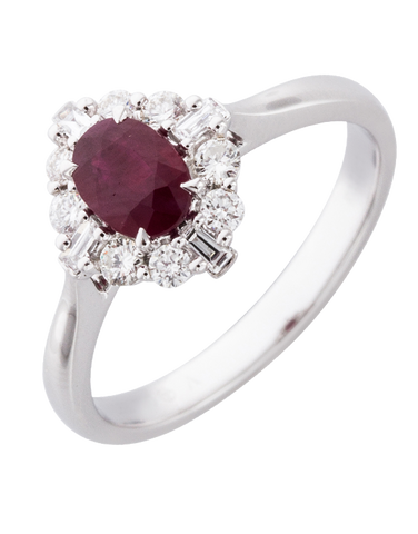 Ruby Ring - 18ct White Gold Ruby & Diamond Ring - 770372