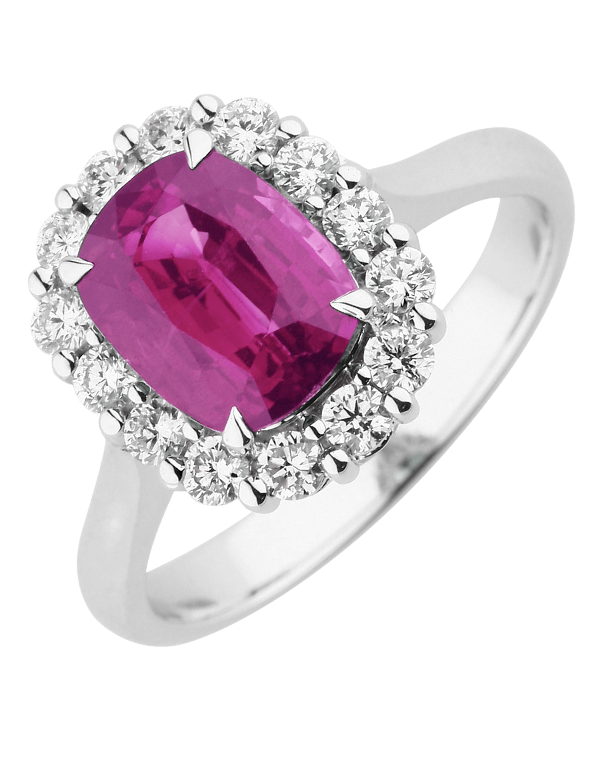 Ruby Ring - 18ct White Gold Ruby & Diamond Ring - 770381 - Salera's