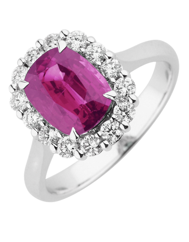 Ruby Ring - 18ct White Gold Ruby & Diamond Ring - 770381