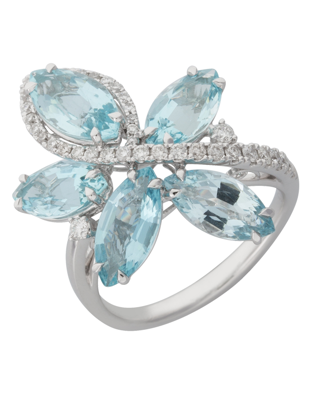 Aquamarine Ring - 18ct White Gold Aquamarine and Diamond Ring - 770383 - Salera's