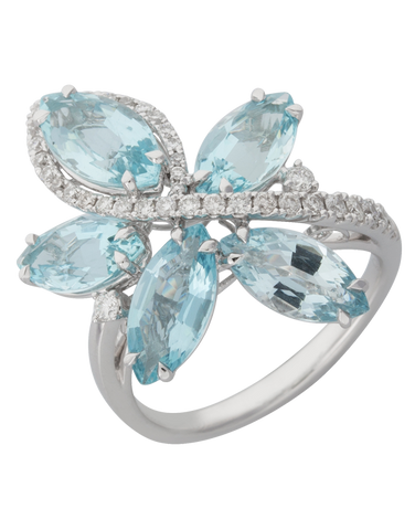 Aquamarine Ring - 18ct White Gold Aquamarine and Diamond Ring - 770383