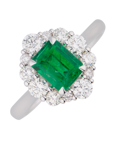 Emerald Ring - 18ct White Gold Emerald & Diamond Ring - 770389