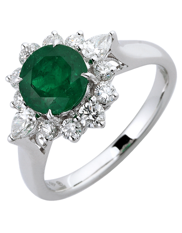 Emerald Ring - 18ct White Gold Emerald & Diamond Ring - 770390