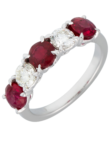 Ruby Ring - 18ct White Gold Ruby & Diamond Ring - 770394