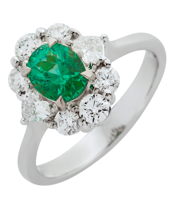 Emerald Ring - 18ct White Gold Emerald & Diamond Ring - 770399
