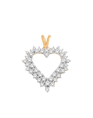 Diamond Pendant - Yellow & White Gold Diamond Heart Pendant - 770407