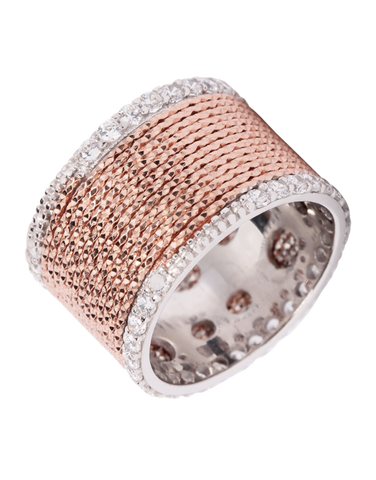 Mode d'Amelie - Sterling Silver & Rose Tone CZ Ring - 770564