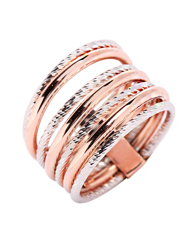 Mode d'Amelie - Sterling Silver & Rose Tone Ring - 770568