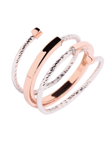 Mode d'Amelie - Sterling Silver & Rose Tone Ring - 770569