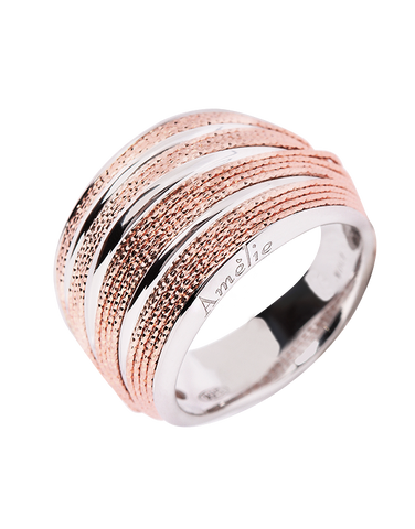 Mode d'Amelie - Sterling Silver & Rose Tone Ring - 770570
