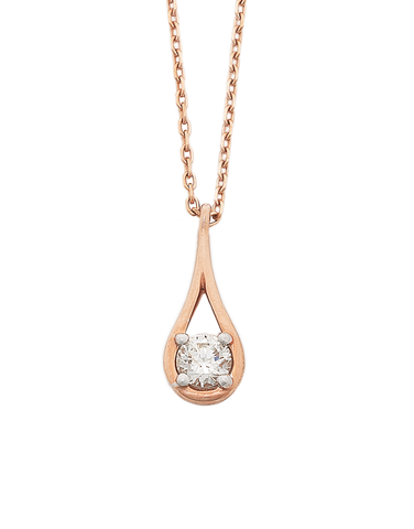Diamond Pendant - 10ct Rose Gold Diamond Pendant With Chain - 770626