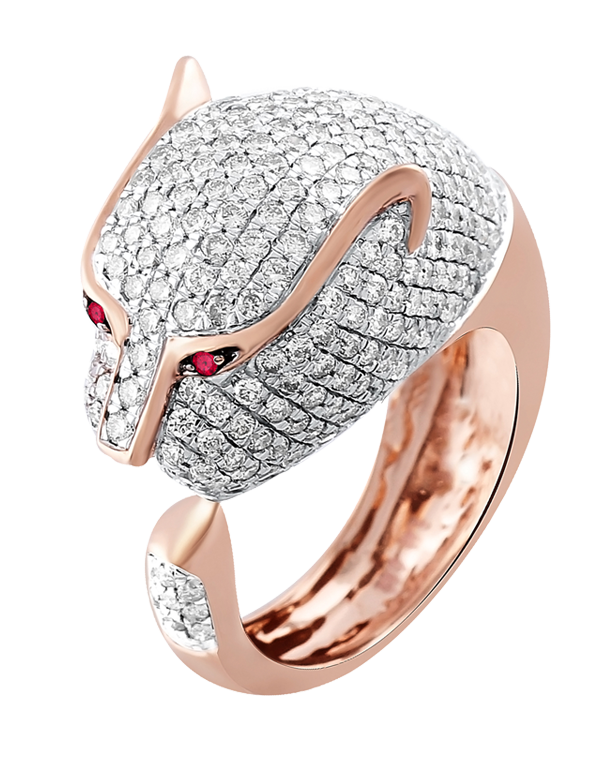 Esclusivo - 18ct Rose Gold Diamond Panther Ring - 770716