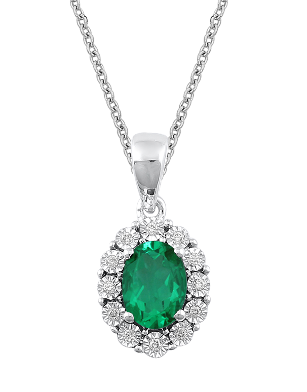 Emerald Pendant - White Gold Emerald & Diamond Pendant - 771052 - Salera's