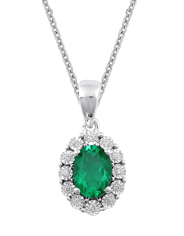 Emerald Pendant - White Gold Emerald & Diamond Pendant - 771052