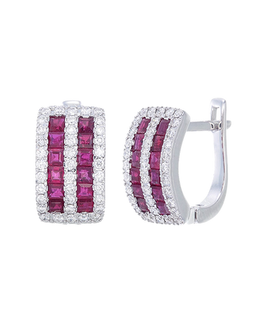 Esclusivo - 14ct White Gold Ruby and Diamond Earrings - 771059