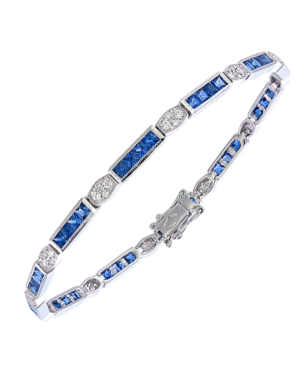 Esclusivo - 14ct White Gold Sapphire & Diamond Bracelet- 771065 - Salera's