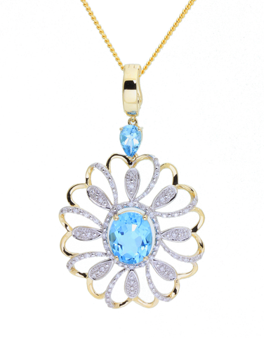 Gold Pendant - 14ct Yellow Gold Blue Topaz and Diamond Enhancer Pendant - 771453