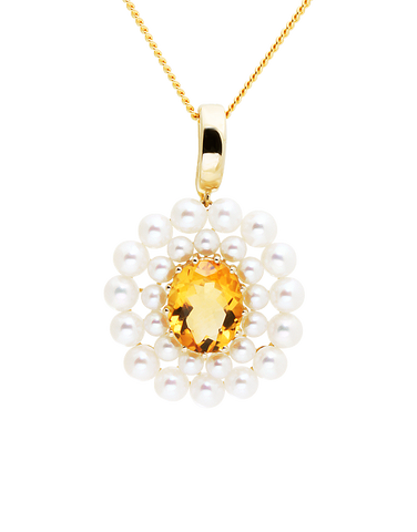Gold Pendant - 14ct Yellow Gold Freshwater Pearl and Citrine Enhancer Pendant - 771464