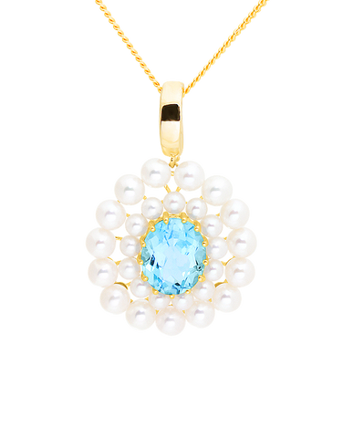Gold Pendant - 14ct Yellow Gold Freshwater Pearl and Blue Topaz Enhancer Pendant - 771465