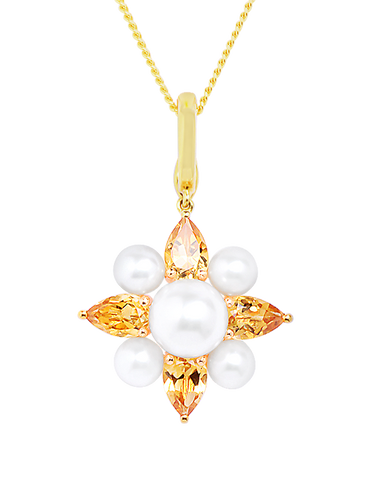 Gold Pendant - 14ct Yellow Gold Freshwater Pearl and Citrine Enhancer Pendant - 771470