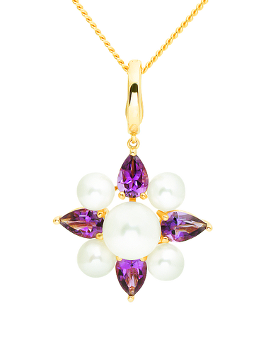 Gold Pendant - 14ct Yellow Gold Freshwater Pearl and Amethyst Enhancer Pendant - 771471