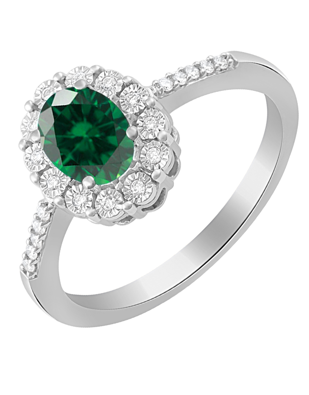 Emerald Ring - 14ct White Gold Emerald and Diamond Ring - 780057 - Salera's