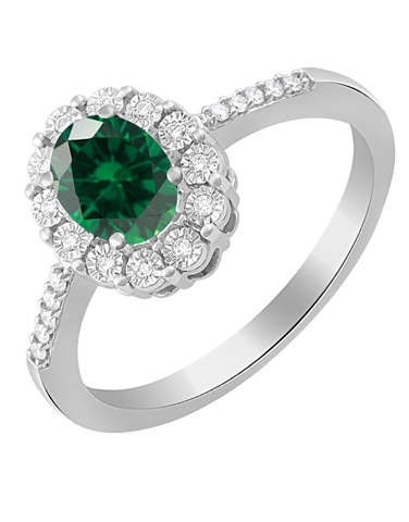Emerald Ring - 14ct White Gold Emerald and Diamond Ring - 780057