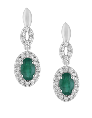 Emerald Earrings - 14ct White Gold Emerald & Diamond Earrings - 780116