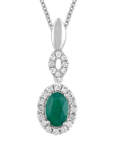 Emerald Pendant - 14ct White Gold Emerald & Diamond Pendant - 780118