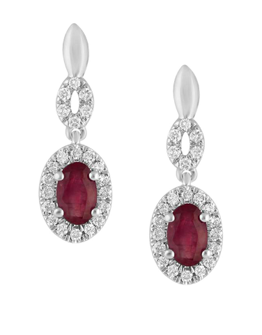 Ruby Earrings- 14ct White Gold Ruby & Diamond Earrings - 780119