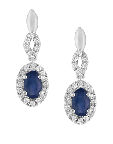 Sapphire Earrings - 14ct White Gold Sapphire & Diamond Earrings - 780121