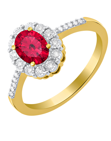 Ruby Ring - 14ct Yellow Gold Ruby and Diamond Ring - 780322
