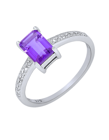 Amethyst Ring - White Gold Amethyst and Diamond Ring - 780364