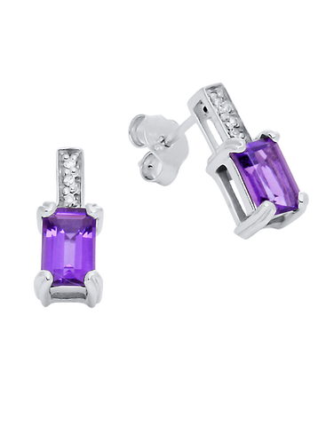 Amethyst Earrings - White Gold Amethyst and Diamond Earrings - 780366