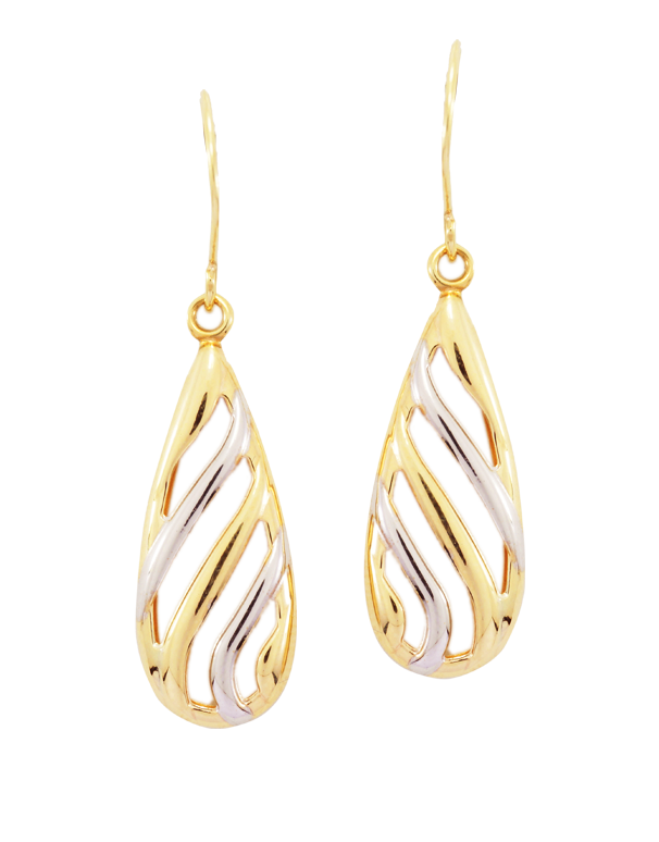 Gold Earrings - Two Tone Drop Earrings - 780525 - Salera's